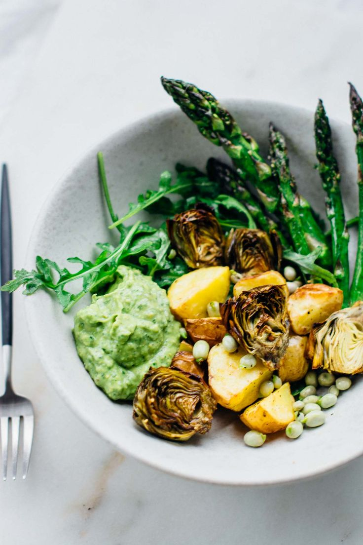 Green goddess spring veggie bowl {vegan, gluten-free} - Scaling Back