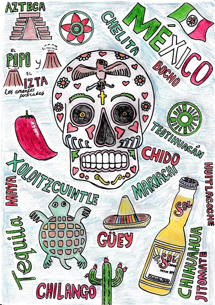 """A4 hand-drawn collage of a skull (inspired by the Mexican """"Día de los Muertos"""" [Day of the Dead] celebrations) and other symbols and words strongly associated with Mexico and its culture past and present. Materials used: colouring pencils and fine liner pens. #illustration #drawing #art #artwork #skull"""