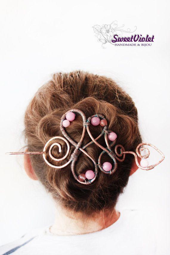 Rame capelli Barrette con Pin e agata, gioielli fatti a mano, lunghi capelli martellato accessori, donne dono, gioielli per capelli, capelli, Fermacapelli
