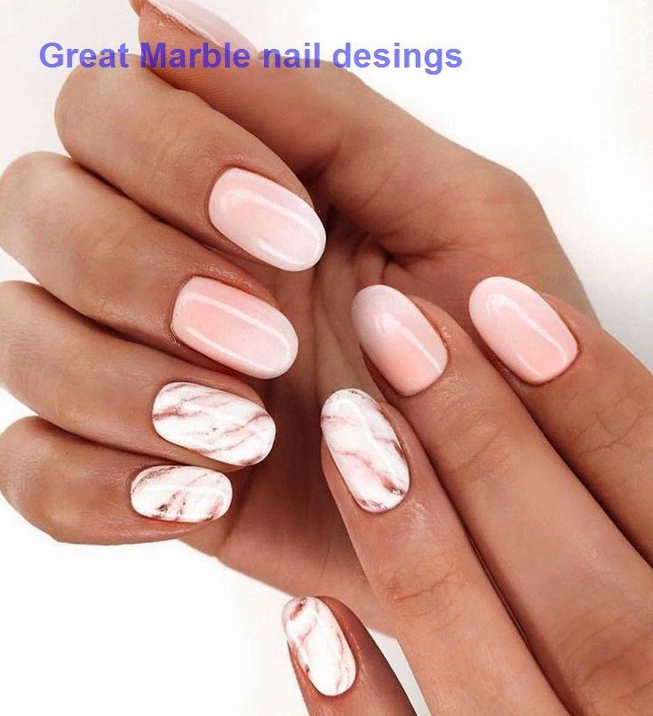 25 Marble Nail Design With Water Nail Polish 1 Marblenails In 2020 Short Acrylic Nails Pink Nails Marble Nail Designs