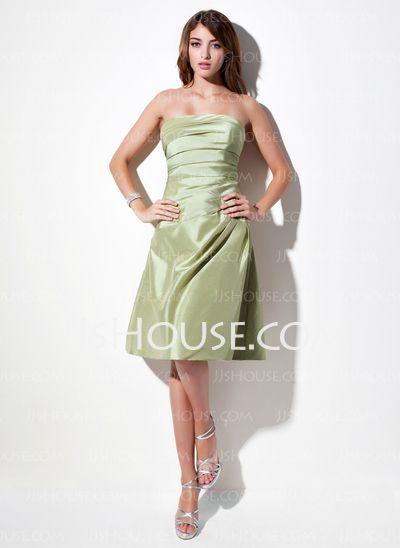Bridesmaid Dresses - $83.99 - A-Line/Princess Strapless Knee-Length Taffeta Bridesmaid Dress With Ruffle (007001879) http://jjshouse.com/A-Line-Princess-Strapless-Knee-Length-Taffeta-Bridesmaid-Dress-With-Ruffle-007001879-g1879