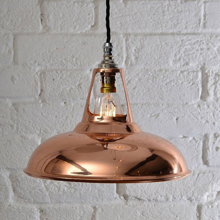 Modelled on the industrial design classic of the 1930s Coolicon, our copper reproductions give this iconic design a modern twist.Available with your choice of 9 different flex coloursThis elegant factory light is perfect for all interiors, including modernist, vintage industrial, farmhouse, etc. Each Light comes with: 1 x Copper shade , 1 x Bayonet fixture (with cord grip), 1 x Ceiling Plate (with cord grip) and 1m Braided flex cable (colour of your choice) This item will require some basic…