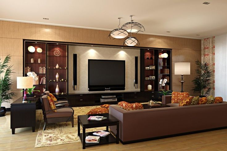 Living Room. Terrific Living Room Decor Ideas. Wonderful Modern Living Room Decoration Ideas Featuring Brown Leather Comfy L-shaped Sofa And Black Laminated Wooden Arm Chairs With Brown Leather Comfy Cushion And Backside Plus Cream Floral Pattern Fabric Rug Along With Black Stained Wooden Table With Shelf As Well As Black Stained Wooden Cabinet Plus Glass Shelves And Also Black Laminated Wooden Tv Cabinet As Well As Red Gold Floral Pattern Fabric Comfy Cushions And White Round Table Lamp…