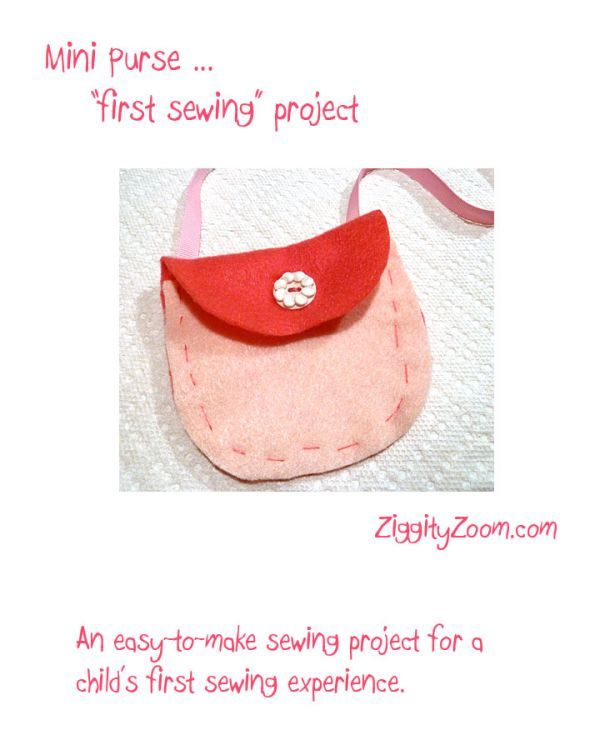 First Sewing Project to Make a Mini Purse | Ziggity Zoom