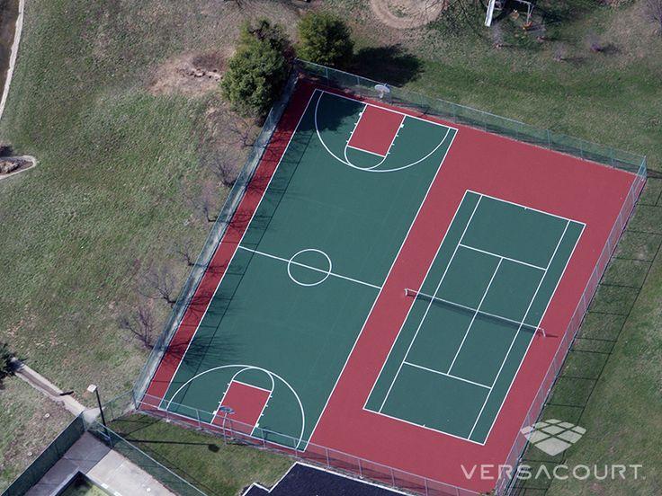 full court basketball tennis courts backyard
