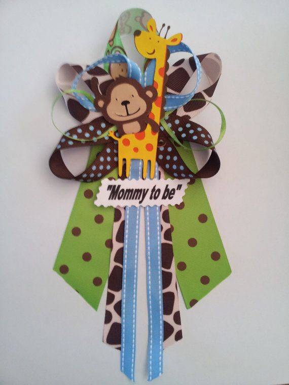Blue JUNGLE theme Monkey and Giraffe baby shower pin/corsage