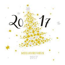 Sapin étoilé qui brille de mille feux avec ses jolies touches or et argent ! Une carte de voeux Popcarte élégante pour cette nouvelle année 2017