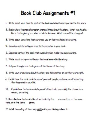 Book club ideas, structure, possible assignments -- teach123-school.blogspot.com.