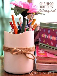 DIY Pencil Storage from a Shampoo Bottle - Just one of many ways to Reuse and ReImagine all you can do with a shampoo bottle #ReImagineThat #ad