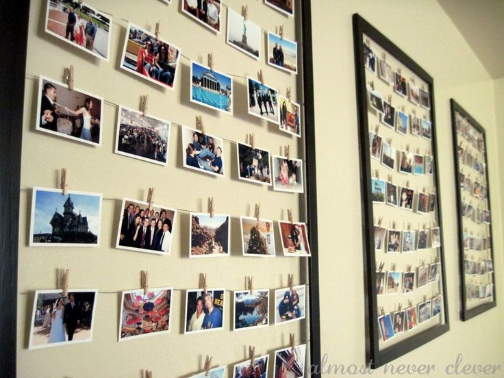 Use old frames, picture wire, and miniture clothes pins to make these easily changeable collages.