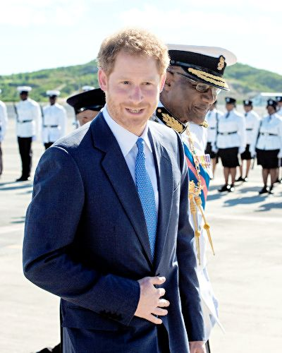 The Royals TUMBLR: Prince Harry is greeted by the Governor General His Excellency Sir Rodney Williams as he arrives at VC Bird International Aiport on the first day of an official visit on November 20, 2016 in St John's, Antigua.