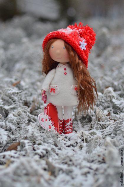 Новогодняя Гномочка - ярко-красный,новый год,подарок,текстильная кукла