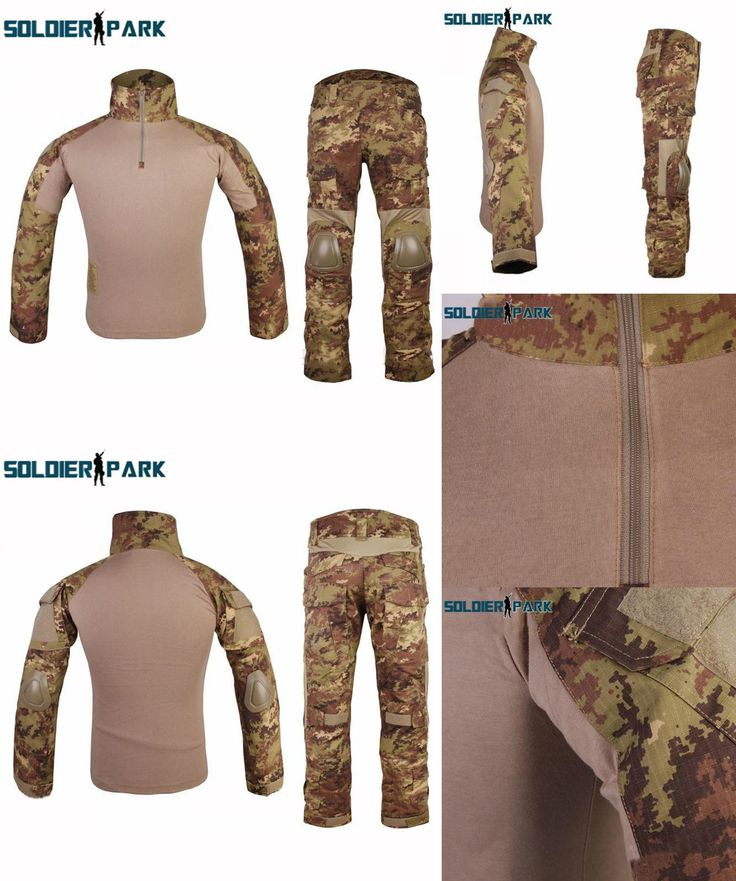 [Visit to Buy] Military Combat Gen2 Official Tactical Training Uniform Outdoor Hunting Camouflage  Suits Shirt + Pants with Knee Pad Protector #Advertisement