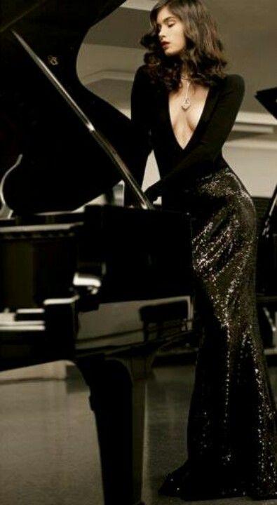 Lola Fashion Model Playing Piano