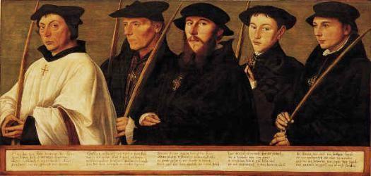 Ян ван Скорел (Jan van Scorel) (1495 - 1562) — Portretten van vijf leden van de Utrechtse Jeruzalembroederschap (ок.1541, Centraal Museum, Utrecht)