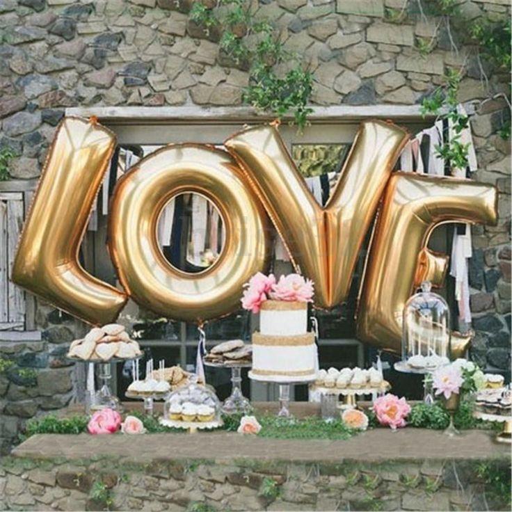 "30"" 40"" Gold Silver Love Set Mylar Foil Balloons Birthday Wedding Party Decor"