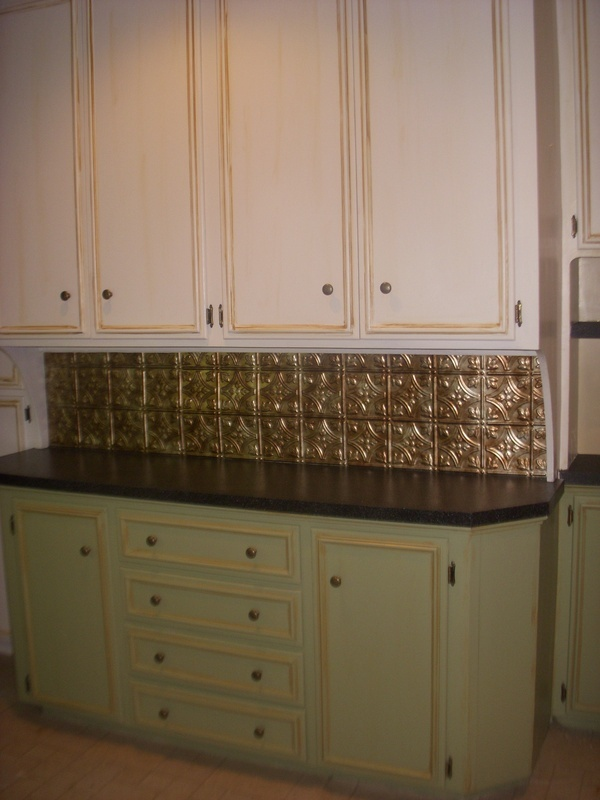 I LOVE The Back Splash!! Painted Counter Tops