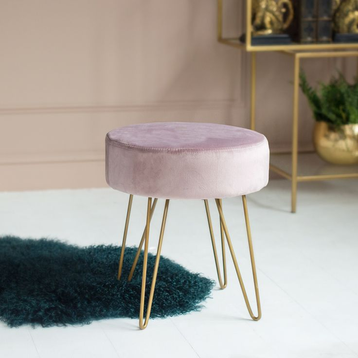 The Big Velvet Home Trend | This versatile stool from Audenza is a great way to introduce velvet for say a bedroom space. #velvet #hometrends #pinkvelvet #stool #homeinspo #homeideas #bedroomideas #interiordesign #interiors #homedecor #velvettrend #seating