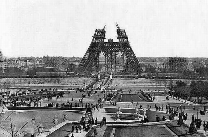 This was the tallest building in Paris, the Eiffel Tower under construction in the 1880's.