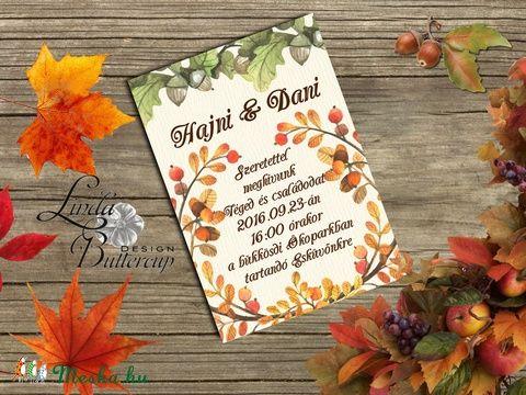 Őszi Esküvői meghívó, Rusztikus Esküvő, Vintage Esküvő, Bohém képeslap, Őszi Esküvő, őszi levelek, Esküvő, Naptár, képeslap, album, Meghívó, ültetőkártya, köszönőajándék, Képeslap, levélpapír, Meska