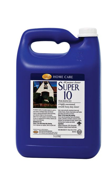 5 litre - Fragranced - Super 10 is a multi-purpose concentrate that does the job of a cupboard full of ordinary cleaners and does it more effectively.
