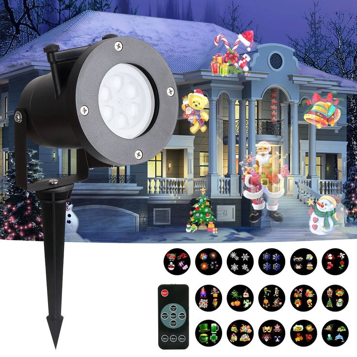 GOODNEW Christmas LED Projector Light, 16 Slides Dynamic Lighting Landscape Indoor and Outdoor Waterproof Led Projector Light for Children Birthday Party Holiday Wedding Home Decor