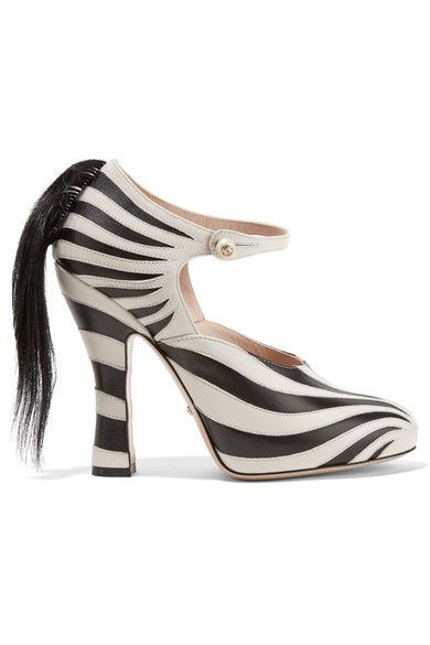 Gucci | Goat hair-trimmed leather pumps | NET-A-PORTER.COM