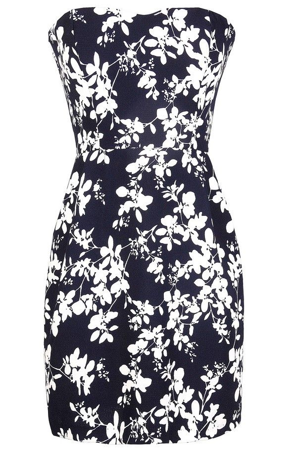 Silhouette Blooms Strapless Dress in Navy/Ivory  www.lilyboutique.com