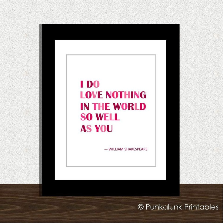 Shakespeare love quote typography art print - Valentine's Day decoration - 8x10 Valentine poster. $7.95, via Etsy.