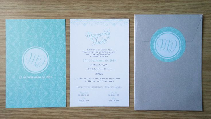 { M & D Mint Green & Silver Invitations } monofolha 10 x 15cm /// envelope c/ etiqueta circular