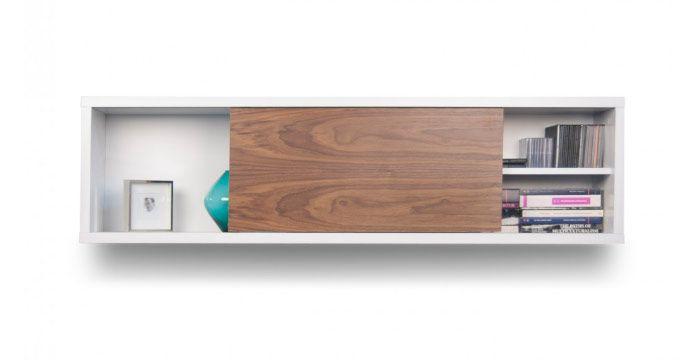 MEDIDAS  150x30x40 cm  Colores: blanco - gris blanco - nogal Blanco    Diseño minimalista. Los acabados contrastantes son adecuados para un interior sofisticado en cualquier rincón del mundo.