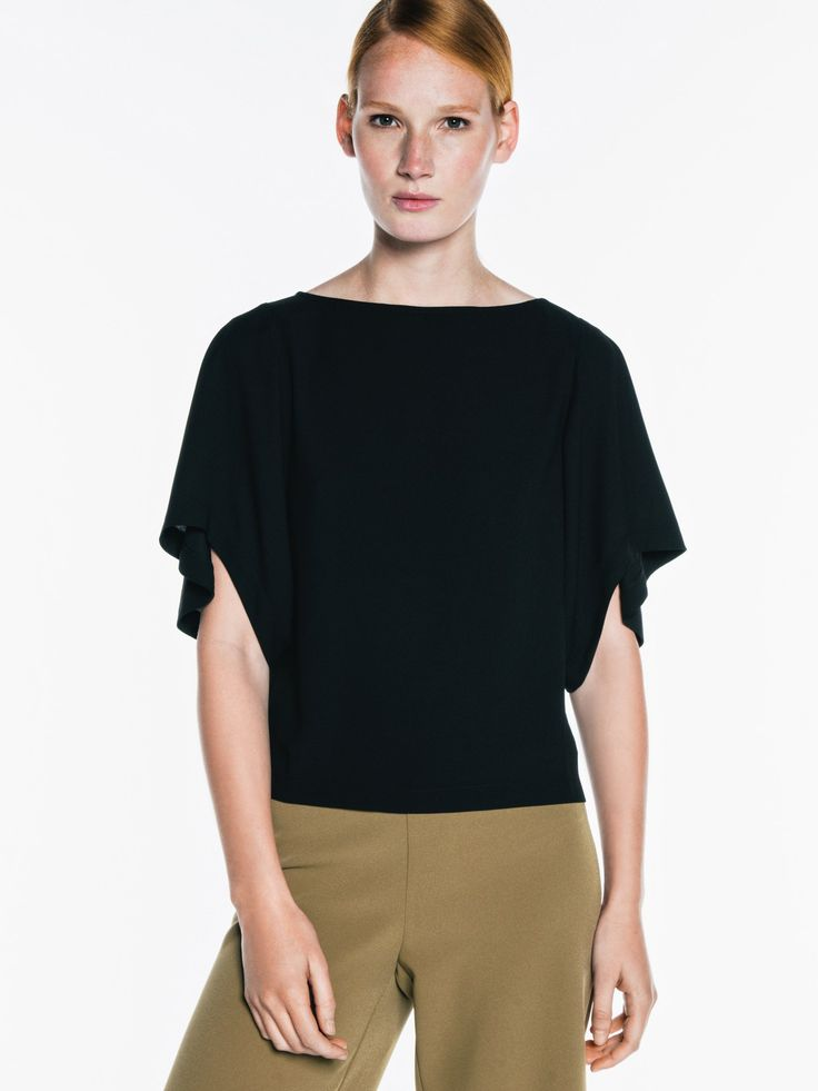 "Veronika Maine - Crepe Wide Sleeve Top. ""This top is made from a light crepe. It features an oversized, wide sleeve and a back neck keyhole with button fastening. It has an easy, relaxed fit."""