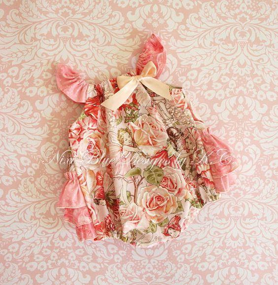 Baby ruffle romper Pink baby romper Fairy baby by NixiBlueDesigns, $35.00