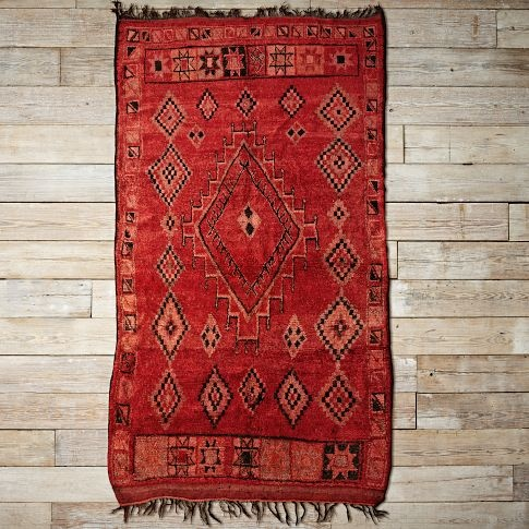 Red diamond pattern Moroccan rug Gen home ideas