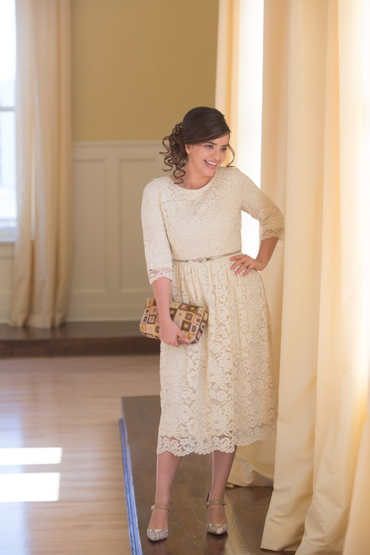Charming in Lace Dress in Beige by Dainty Jewell's | An exquisite, all-over lace dress! Shop www.daintyjewells.com for modest apparel, bridesmaid dresses, girls clothes, ruffles, and lace!