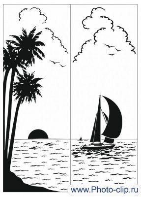 Пескоструйный рисунок Парусник №70