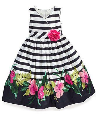 vestido infantil listras e floral saia godê.