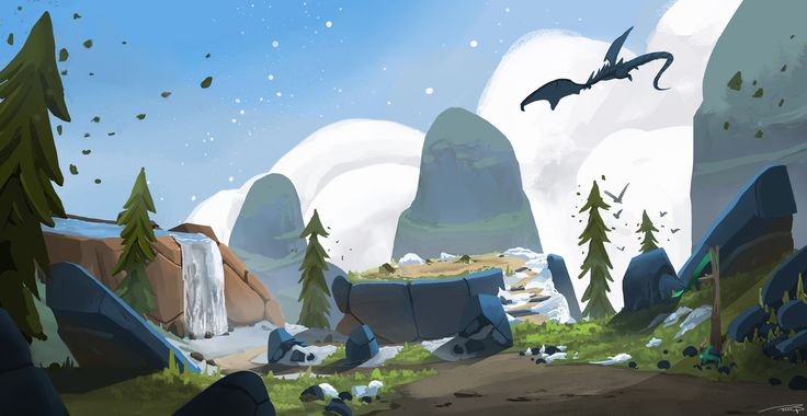Dragon's Den, Mountain Top, Tim Persson on ArtStation at https://www.artstation.com/artwork/o8B6L