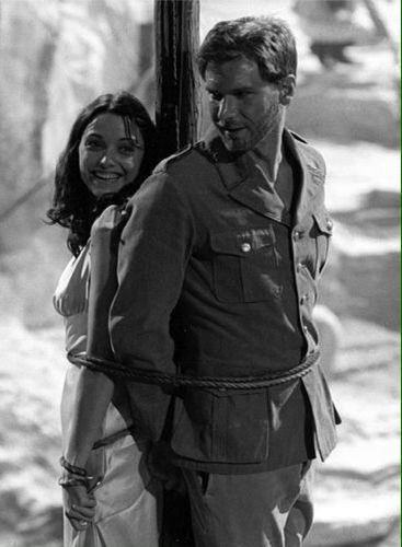 Behind the Scenes - Karen Allen (Marion Ravenwood) & Harrison Ford (Indiana Jones) - Raiders of the Lost Ark (1981)