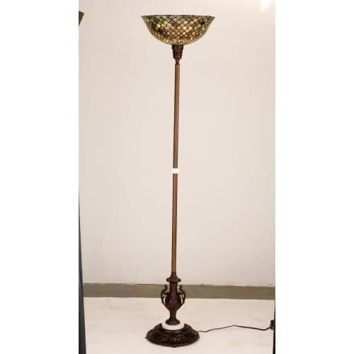 Meyda Tiffany 26626 Stained Glass / Tiffany Torchiere Lamp from the Tiffany Fishscale Collection