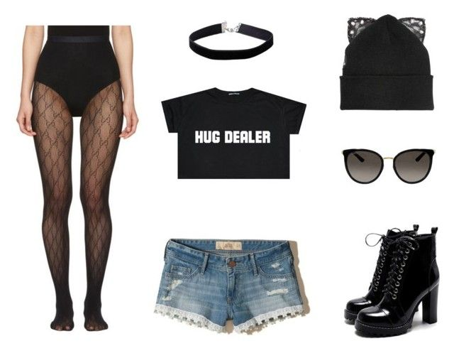 """""""Hug Dealer"""" by makaylafayereeves ❤ liked on Polyvore featuring Miss Selfridge, Silver Spoon Attire, Gucci and Hollister Co."""