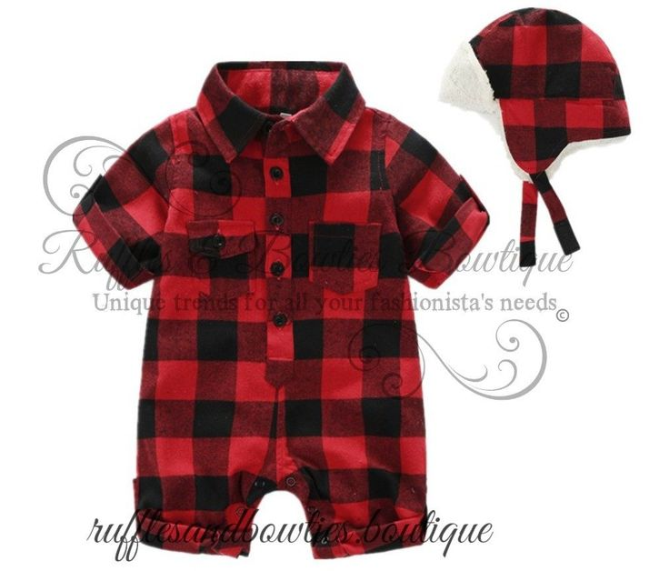 Pre Order - Baby Boys Buffalo Plaid Romper Jumsuit with Matching Lined Hat - Boys 2 pc Outfit - Buffalo Plaid Onesie - Buffalo Print baby winter hat