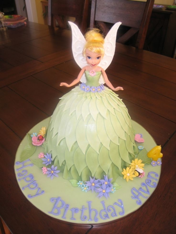 Tinkerbell Doll Cake Design : Tinkerbell doll cake-- look at the leaf detail on her desk ...