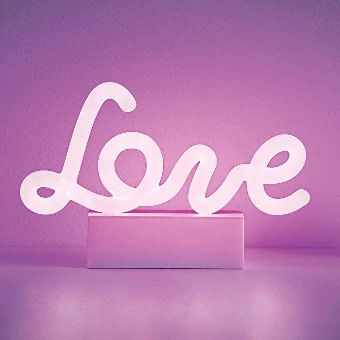 Merkury Innovations 8 Inch Led Neon Purple Love Sign Night Light Mood Light With Pedestal Battery Operated Mood Light Purple Led Lights Teenage Girl Gifts