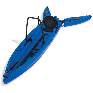 Wait, what??  A kayak that you can stand up in?  No, really...  It has outriggers that pivot out, to stabilize the thing.  So you can fish away!