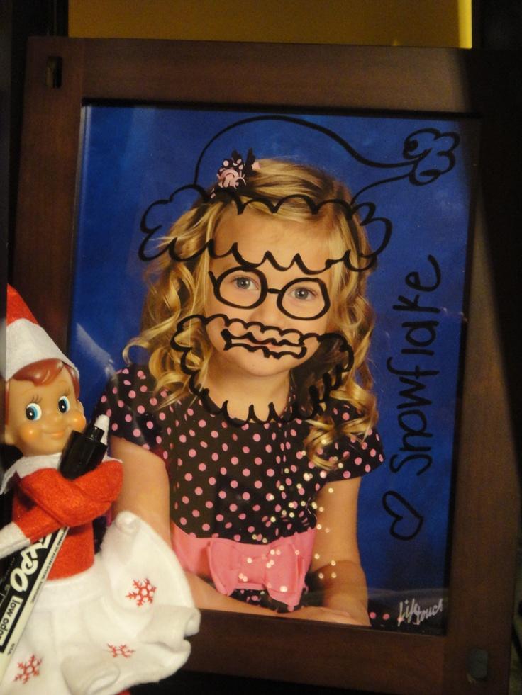 Elf on Shelf Dry Erase marker on Picture