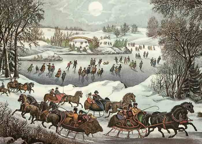 Currier and Ives - 19th Century sleighing and skating