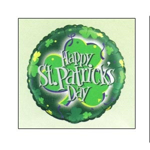 """Mylar Balloon St. Patrick's Day Shamrock 18"""".Available empty or helium filled.Helium filled option for local pickup or delivery only."""