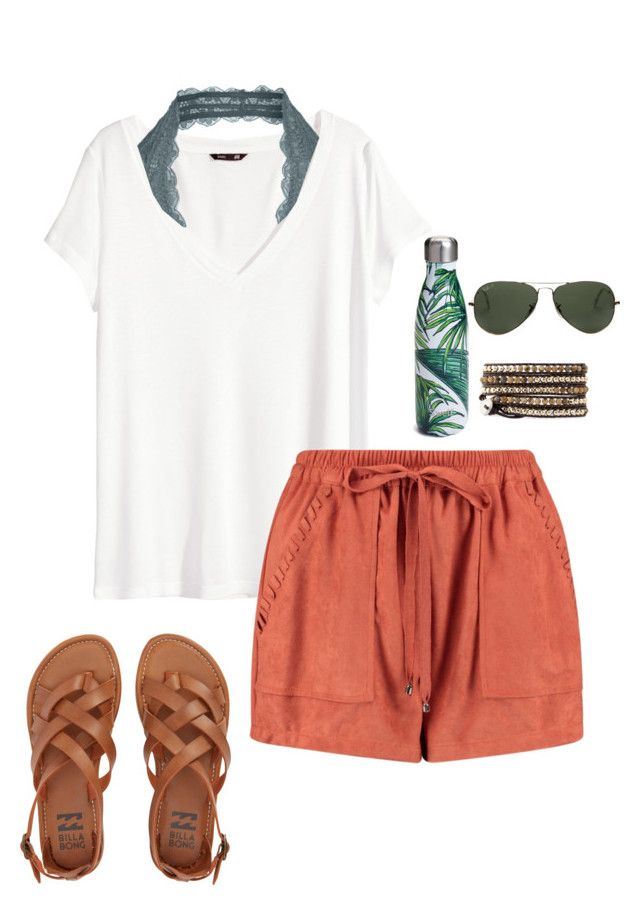 """Every girl at school"" by thepinkcatapillar on Polyvore featuring H&M, Boohoo, Free People, Billabong, S'well and Ray-Ban"