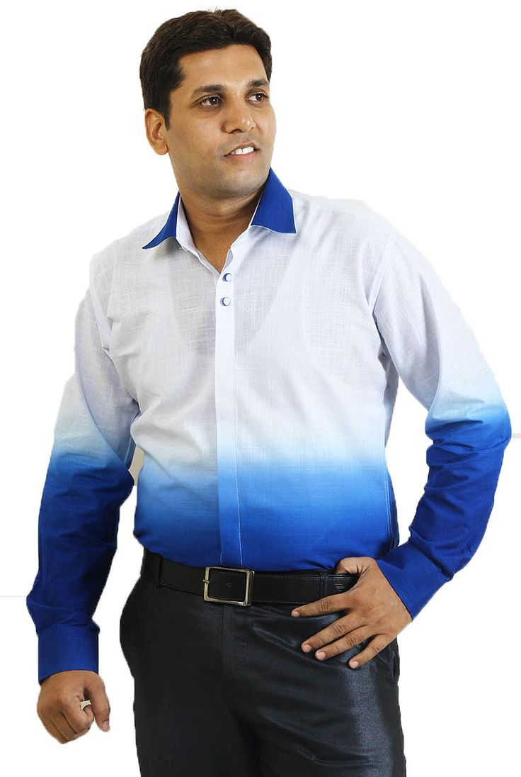 Buy Online Branded & Two Color Combination SIERA White and Blue Linen Party Wear Shirts at GetAbhi.com http://tinyurl.com/hswjsur